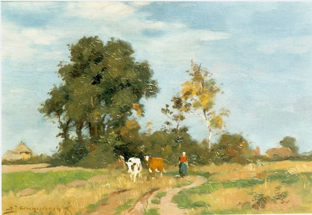 Adrianus Johannes Groenewegen | A summer landscape with a cow herd, oil on panel, 21.0 x 30.0 cm, signed l.l.