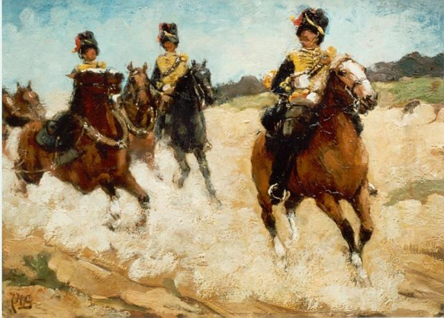 Jacob Hendrik Geerlings | Mounted Artillery Battalion, oil on panel, 24.8 x 33.9 cm, signed l.l.