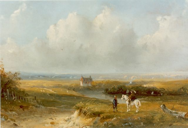 Josephus Gerardus Hans | Travellers in a summer landscape, oil on panel, 13.0 x 17.0 cm, signed l.l.