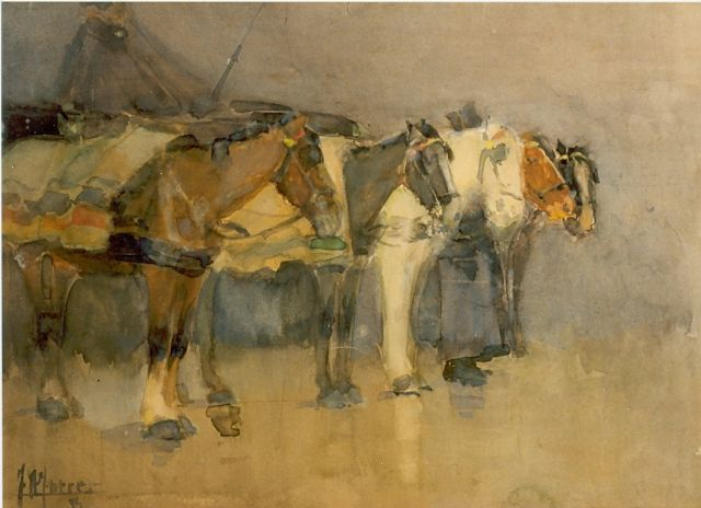 Johannes Hendricus Jurres | Horses, watercolour on paper, 19.0 x 26.0 cm, signed l.l. and dated '94