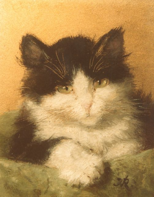 Henriette Ronner-Knip | Cat head, oil on panel, 10.2 x 8.2 cm, signed lower right with monogram