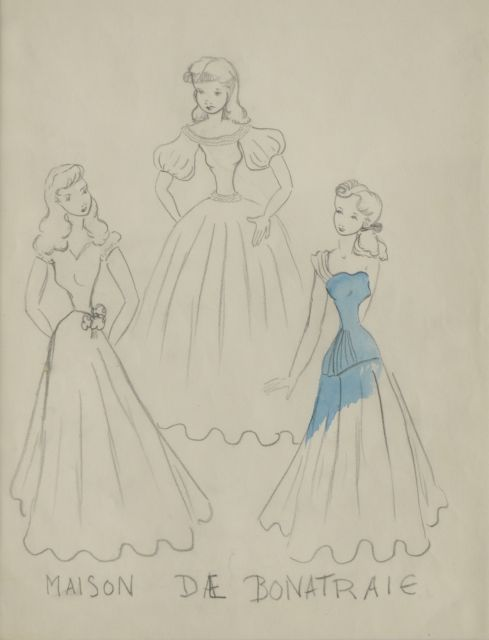 Prinses Beatrix van Oranje Nassau | Models at the Bonneterie, pencil and blue ink on paper, 30.0 x 23.0 cm