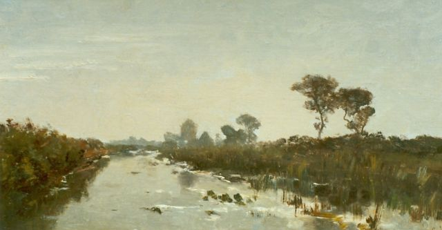 Paul Joseph Constantin Gabriel | Canal in a polder landscape, oil on canvas laid down on panel, 22.7 x 43.6 cm, signed l.r.