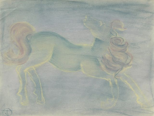 Prinses Beatrix van Oranje Nassau | Horse, pastel on paper, 23.2 x 30.3 cm, signed with monogram TvO