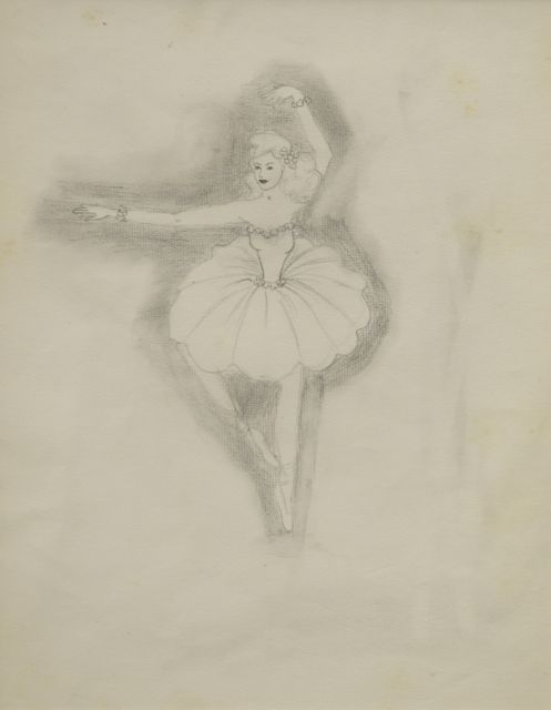 Prinses Beatrix van Oranje Nassau | Ballet dancer, pencil on paper, 30.0 x 23.0 cm