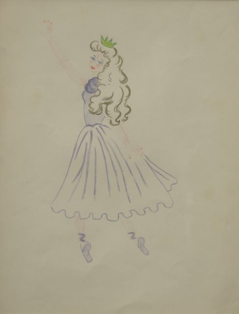 Prinses Beatrix van Oranje Nassau | Ballet princess, coloured pencil on paper, 30.0 x 23.0 cm