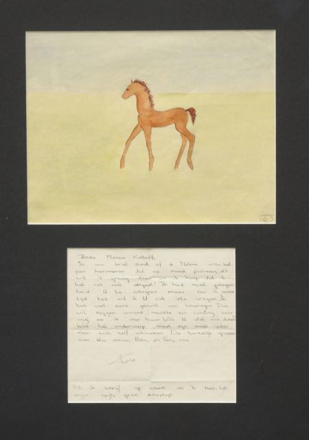 Prinses Beatrix van Oranje Nassau | A foal, pencil and watercolour on paper, 23.0 x 30.0 cm, signed with monogram l.r.
