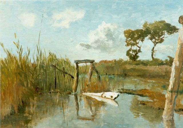 Paul Joseph Constantin Gabriel | A polder landscape, oil on canvas laid down on panel, 25.5 x 37.8 cm, signed l.l.