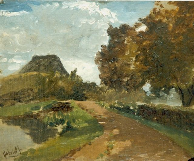 Gabriel P.J.C.  | A country road, oil on panel 24.3 x 31.5 cm, signed l.l.