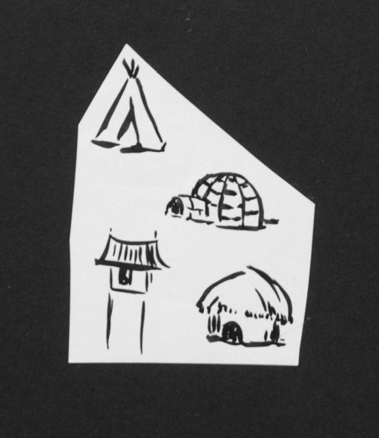 Prinses Beatrix van Oranje Nassau | Four huts, pencil and black ink on paper, 7.9 x 6.0 cm, executed August 1960