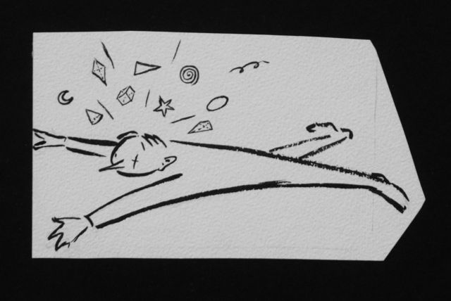 Prinses Beatrix van Oranje Nassau | Knocked out, pencil and black ink on paper, 7.3 x 13.4 cm, executed August 1960
