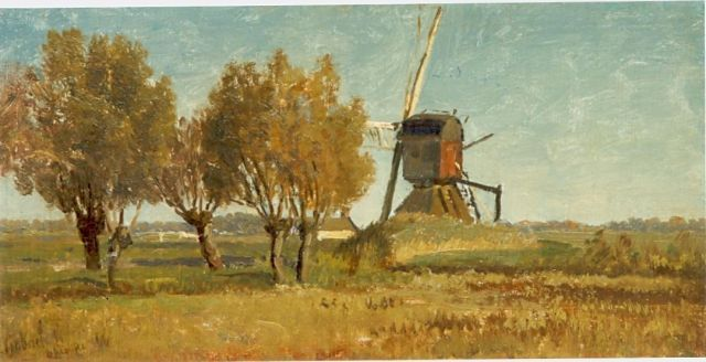 Paul Joseph Constantin Gabriel | A windmill, oil on canvas laid down on panel, 18.2 x 36.0 cm, signed l.l.
