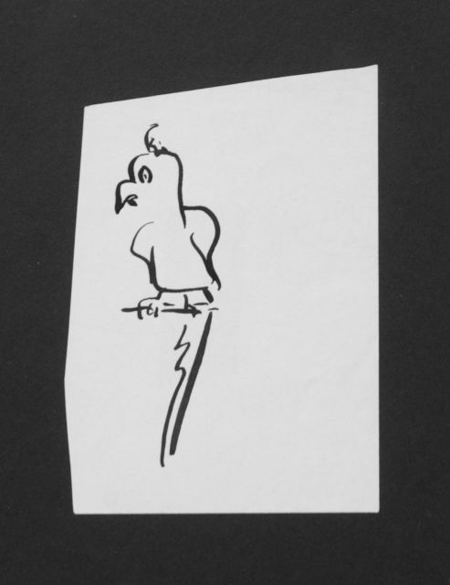 Prinses Beatrix van Oranje Nassau | Parrot, pencil and black ink on paper, 10.6 x 7.4 cm, executed August 1960