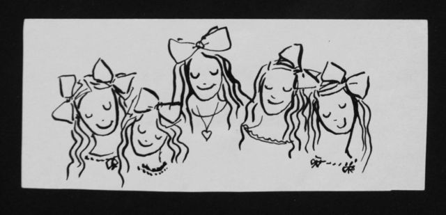Prinses Beatrix van Oranje Nassau | Five girls, pencil and black ink on paper, 6.0 x 14.0 cm, executed August 1960