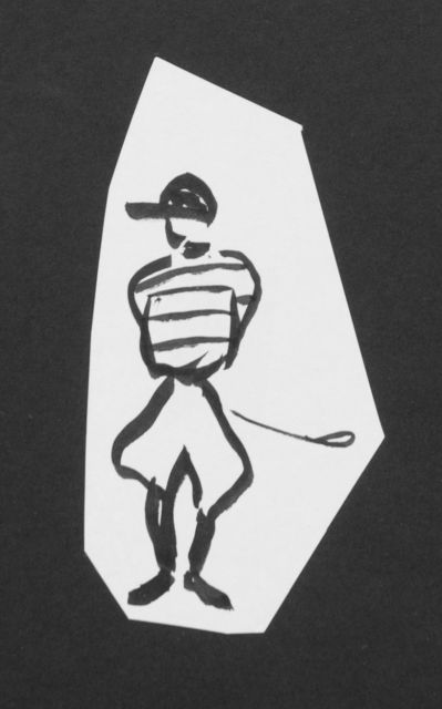 Prinses Beatrix van Oranje Nassau | Jockey, pencil and black ink on paper, 11.0 x 5.5 cm, executed August 1960