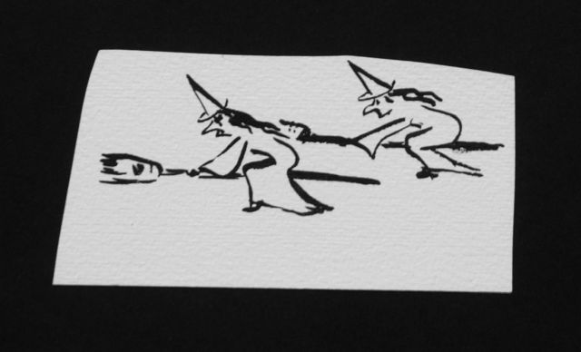 Prinses Beatrix van Oranje Nassau | Flying witches, pencil and black ink on paper, 5.7 x 11.3 cm, executed August 1960