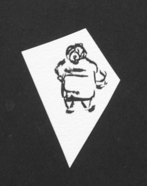 Prinses Beatrix van Oranje Nassau | Fat woman, pencil and black ink on paper, 6.5 x 4.0 cm, executed August 1960
