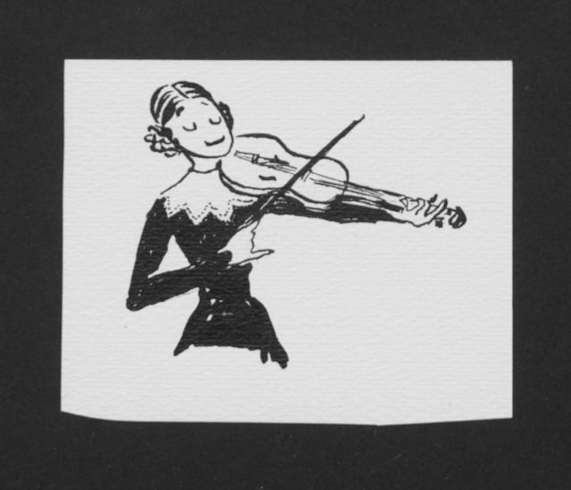 Prinses Beatrix van Oranje Nassau | Violinist, pencil and black ink on paper, 9.7 x 7.6 cm, executed August 1960
