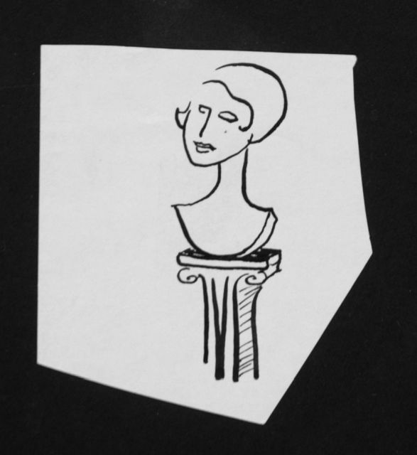 Prinses Beatrix van Oranje Nassau | Sculpture, pencil and black ink on paper, 8.2 x 7.5 cm, executed August 1960