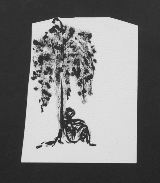 Prinses Beatrix van Oranje Nassau | Man sleepig under a tree, pencil and black ink on paper, 12.2 x 9.7 cm, executed August 1960