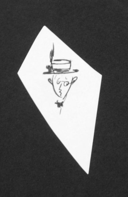 Prinses Beatrix van Oranje Nassau | Man with straw hat, pencil and black ink on paper, 8.2 x 4.3 cm, executed August 1960