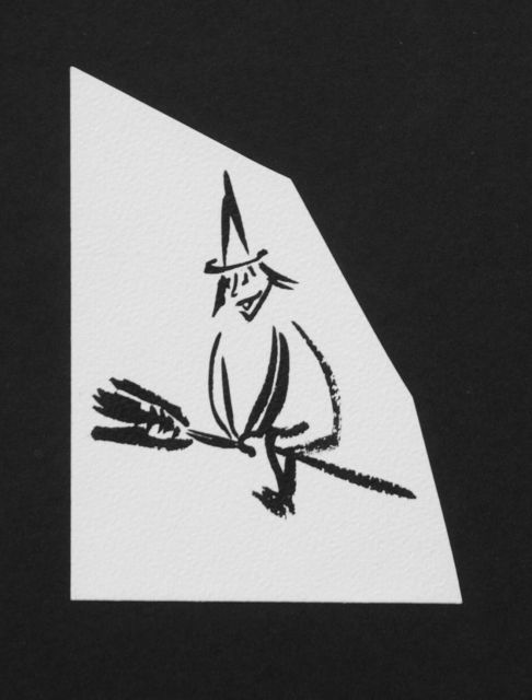 Prinses Beatrix van Oranje Nassau | Witch on a broomstick, pencil and black ink on paper, 11.0 x 8.0 cm, executed August 1960