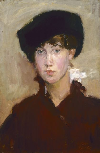 Isaac Israels | Young lady with a cap, oil on canvas, signed l.r.