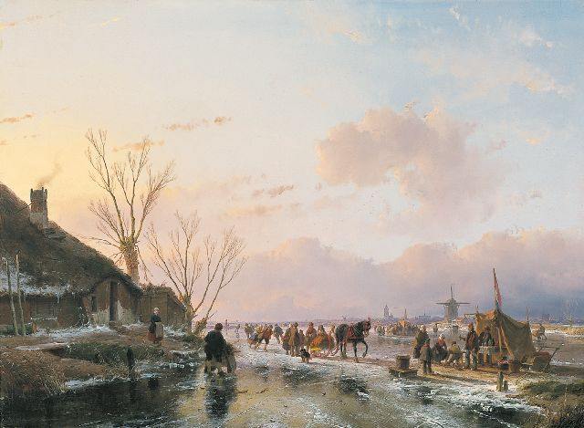 Andreas Schelfhout | Skaters on a sunny winterday, oil on panel, 55.0 x 74.5 cm, signed lower left and dated 1850