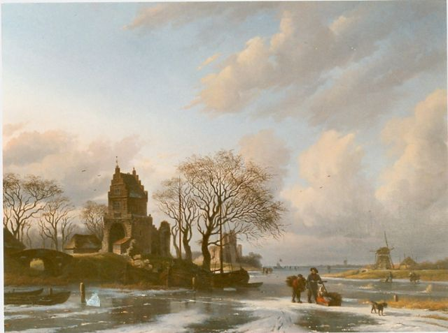 Arnoldus Johannes Eymer | A winter landscape with figures on the ice, oil on canvas, 65.0 x 87.3 cm, signed l.l. and dated 1850