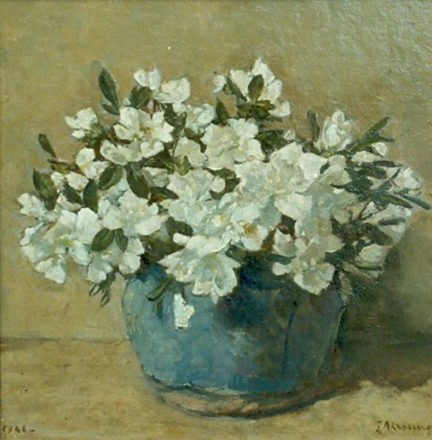 Johannes Evert Hendrik Akkeringa | White azalea in a ginger jar, oil on canvas laid down on panel, 29.0 x 29.0 cm, signed l.r. and dated 1941