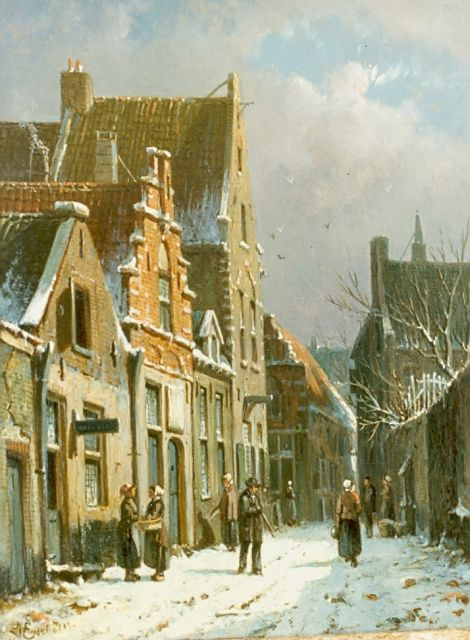 Adrianus Eversen | A snow-covered town, oil on canvas, 25.0 x 19.0 cm, signed l.l.