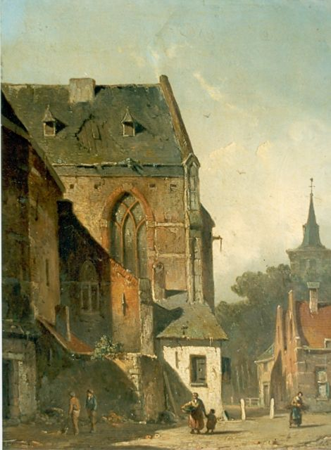 Eversen A.  | Behind the church, oil on panel 26.1 x 21.2 cm, signed l.r.
