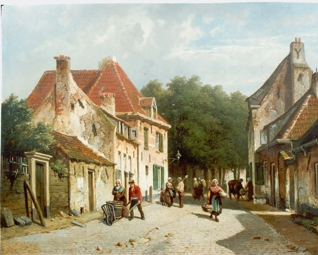 Adrianus Eversen | A Dutch town in summer, oil on panel, 33.0 x 43.7 cm, signed l.r.