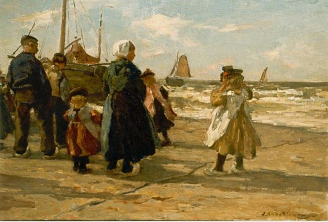 Johannes Evert Hendrik Akkeringa | Fishermen on the beach, oil on canvas, 33.0 x 46.0 cm, signed l.r.