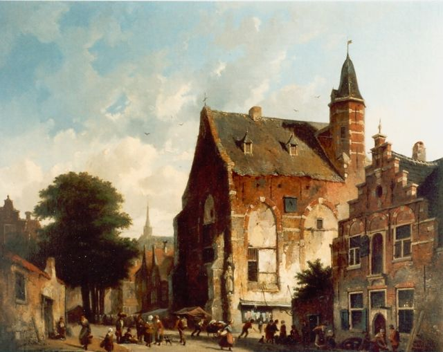 Adrianus Eversen | A town view with figures, oil on canvas, 43.5 x 51.0 cm, signed l.r.