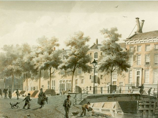 Adrianus Eversen | Daily activities in a town, sepia on paper, 20.0 x 30.0 cm, signed l.r. and dated '54