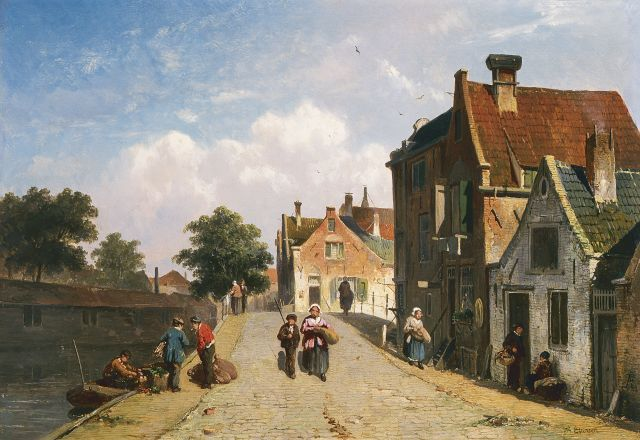 Adrianus Eversen | A town in summer, oil on panel, 25.0 x 36.2 cm, signed l.r.