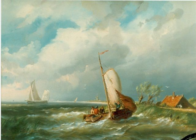 Pieter Cornelis Dommershuijzen | Sailing boats in choppy waters, oil on canvas, 34.8 x 46.3 cm, signed l.l. and dated 1858
