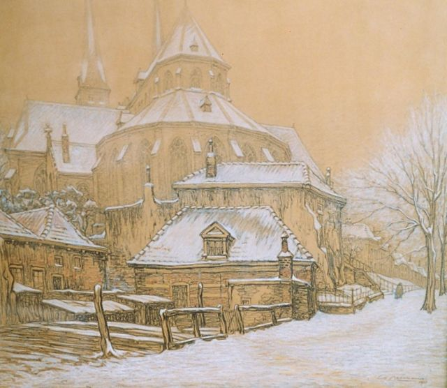 Co Breman | The 'Bergkerk', Deventer, chalk on paper, signed l.r. and dated 1931