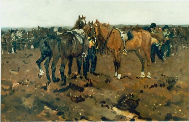 Breitner G.H.  | Artillery horses resting, oil on panel 26.0 x 40.0 cm, signed l.l.