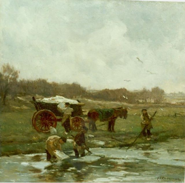 Johannes Evert Hendrik Akkeringa | Shoveling ice, oil on canvas laid down on panel, 38.0 x 38.0 cm, signed l.r.