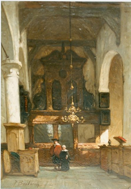 Johannes Bosboom | Church interior with figures, oil on panel, 24.0 x 17.0 cm, signed l.l.