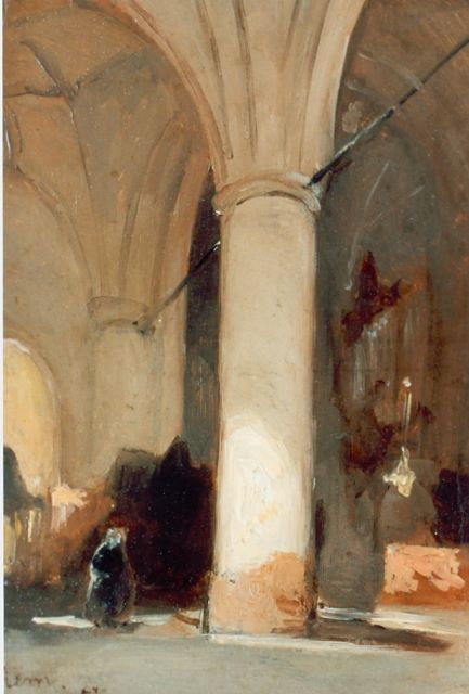 Johannes Bosboom | Church interior, Hattem, oil on canvas laid down on panel, 17.7 x 12.4 cm, signed l.l. and dated '57