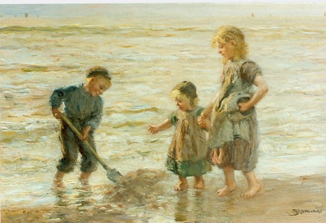 Bernard Blommers | Children playing in the surf, oil on canvas, 30.5 x 46.0 cm, signed l.l.