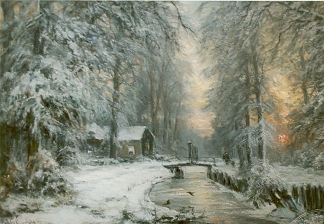 Louis Apol | Winter forest at sunset, oil on canvas, 57.7 x 83.2 cm, signed l.l.