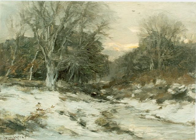 Louis Apol | A snow-covered landscape, oil on canvas, 25.2 x 35.2 cm, signed l.l.