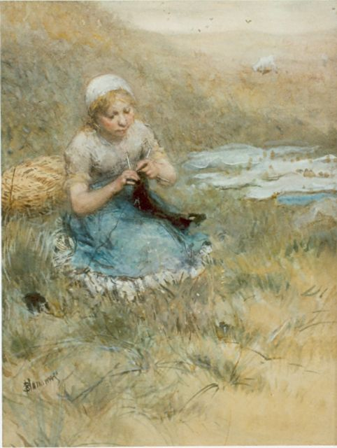 Bernard Blommers | Girl knitting in the dunes, watercolour on paper, 48.3 x 35.5 cm, signed l.l.
