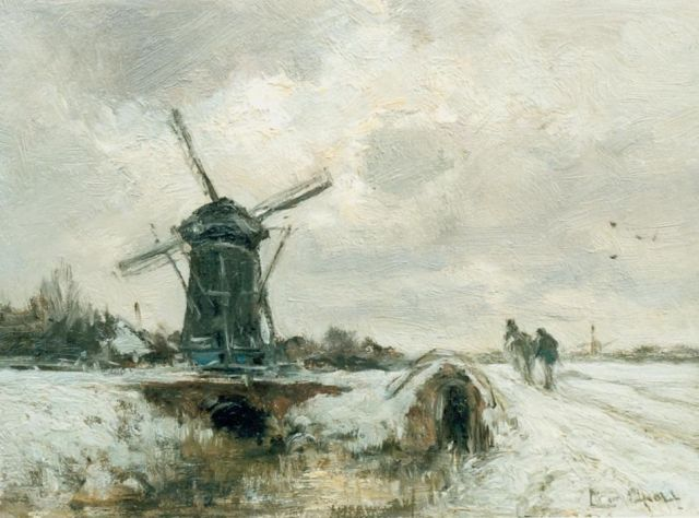Louis Apol | Winter landscape with a windmill and horse, oil on panel, 20.0 x 27.0 cm, signed l.r.
