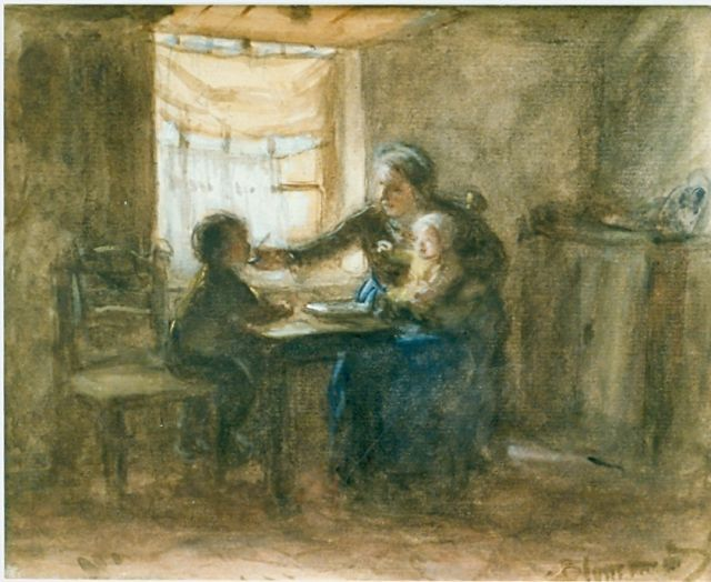 Bernard Blommers | Dinner time, watercolour on paper, 16.0 x 20.0 cm, signed l.r.