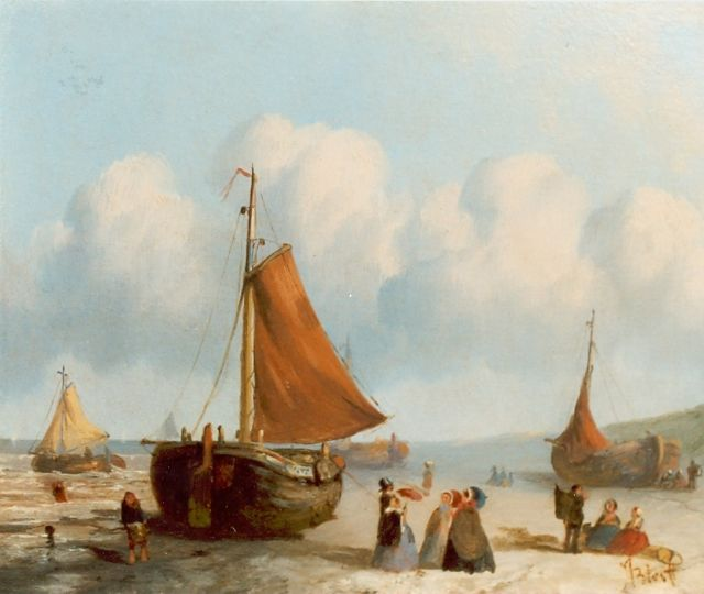 Joseph Bles | Daily activities on the beach of Scheveningen, oil on panel, 20.0 x 25.5 cm, signed l.r.